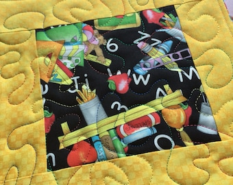 Teacher Mug Rug - Reversible / Oversized quilted coaster / Back to School / Teacher gift / gift for her / quilted / school / child care