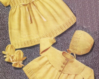 """PDF Knitting Pattern Baby Knitted Dress, Coat, Bonnet, Mitts and Bootees 20-21"""" (Y303)"""