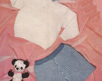 """PDF Knitting Pattern Baby Boys Jumper and Pants to fit Sizes 20 to 22"""" (B319)"""