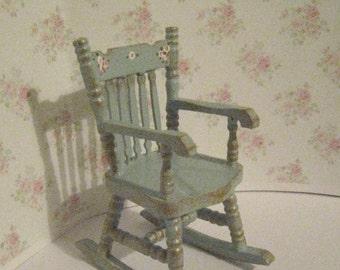 Dollhouse Rocking chair, , tatty  chic duck egg blue,. rocker,  blue rocking chair,  a dollhouse miniature in twelfth scale