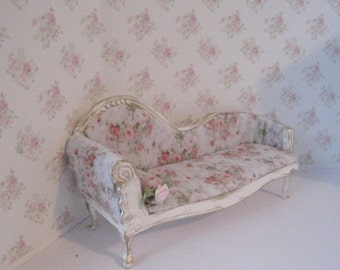 Chaise, Ladies boudoir, tatty chic, a dollhouse miniature, twelfth scale
