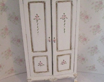 Dollhouse Wardrobe, tatty chic, white, rosebuds , twelfth scale, a dollhouse miniature