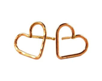 Heart Earring, Hammered Stud Earrings
