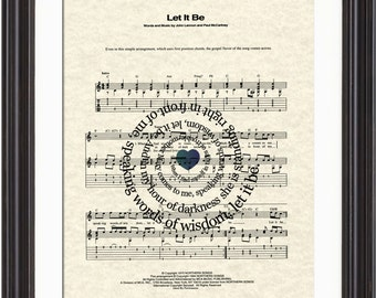 The Beatles Let It Be Song Lyric Sheet Music Art Print, Let It Be Art Print, Beatles Song Art, Beatles Music Art, Spiral Song Lyric Art