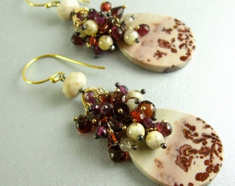 Chohua Jasper and Garnet Gold Filled Cluster Earrings