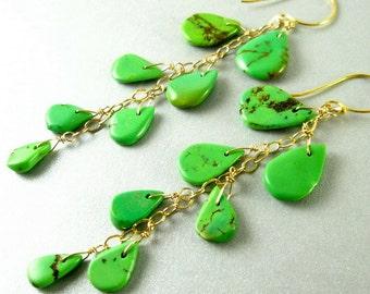 Long Green Turquoise Earrings