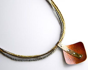 Contemporary Textured Mixed Metals Multistrand Necklace
