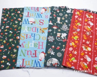 SALE - Japanese Fabric - Christmas 4 Fat Quarter Bundle Set - F192