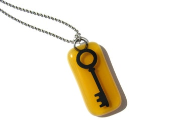 Skeleton Key Necklace - Hand Painted Glass Pendant with your Choice of Chain Style - Gift Idea - Fused Glass