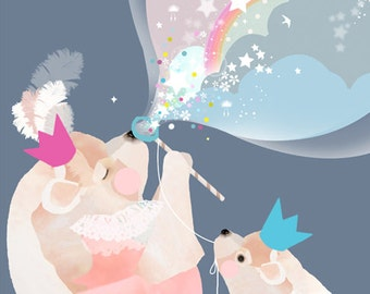 LARGE Children's nursery art, bear bubbles print, blue modern girls bedroom  - 'Bubble Bears' by Schmooks