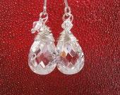 White Clear Crystal Threader Earrings Sterling Silver Swarovski Wire Wrapped Dangle Earrings
