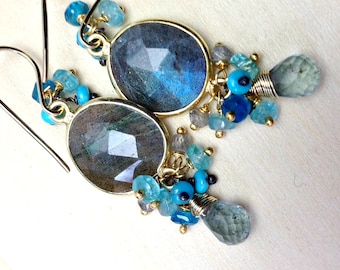 Labradorite Cluster Earrings 18kt Gold Vermeil Bezel Set Dangle Moss Aquamarine Labradorite Blue Flash Turquoise Earrings