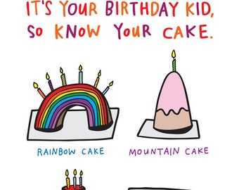 Birthday Card - It's Your Birthday Kid, So Know Your Cake