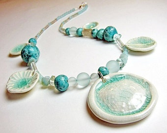 Sea Tides Necklace Handmade Clay Beads