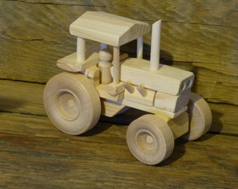 Handmade Wood Toy Farm Tractor Wooden Toys childs kids boys pretend farming model