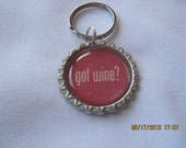 Got Wine Silver Plated Bottle Cap Keychain