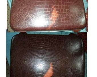 Samsonite suitcase alligator crocodile snake reptile 1960s brown Silhouette