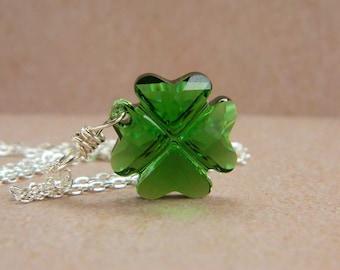 St. Patrick's Day. Clover Necklace Swarovski Crystal-- Shamrock, Green, Lucky, Sterling Silver, Fashion, Clover Necklace, Jewelry Necklace