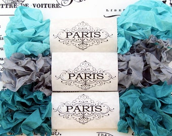 Seam Binding,Scrunched, Shabby Crinkled Ribbon, Turquoise,Silver,Rayon Ribbon, Doll Making,Crazy Quilting, Scrapbooking, Creme de Menthe