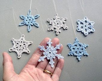 6 Small Snowflake Ornaments -- Multicolored Crochet Snowflakes -- Assortment CN1