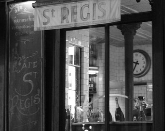 Cafe St Regis, Paris at Night, Ile St Louis, Classic Paris Cafe, black and white photography, kitchen art, Paris Photo