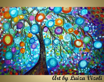 Original Abstract Oil Painting Large Trees Circles Landscape HAPPY Morning by Luiza Vizoli