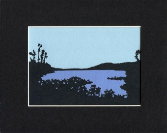 Hinkley Reservoir Paper Cut Silhouette Adirondacks 8X10 Unframed
