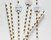 25 Paper Straws - Gold Metallic Stripes - With Printable PDF Milkshake Straw Topper