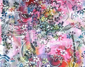 12x18 pink art abstract painting pink flower painting, painting, abstract blossom painting, spring colour original, sjkim painting pink blue