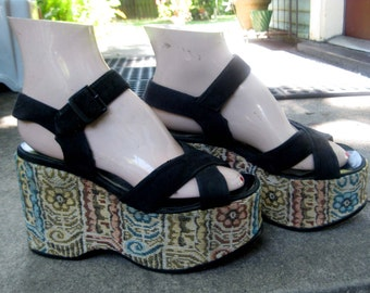 1970s Tapestry Platform Shoes Sandals - Size 7 - Vegan