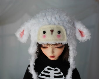 White Lamb Hat for MSD BJD, 1/4 Dollfie, Minifee Crochet Sheep MNF
