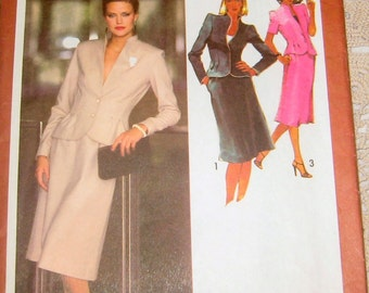 Simplicity 9311 Classy Suit with Unlined Long or Short Sleeved Jacket and A-Line Skirt.  Size 10