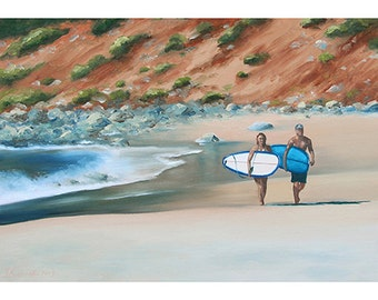 5x7 Greeting Card by Daina Scarola, Item #GC5X7-24 (Lawrencetown, Nova Scotia, beach, surf art, two surfers)