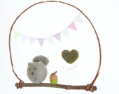 Squirrel Mobile, Baby Nursery Decor, Woodland Theme, Grey and Green