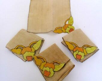 Vintage Cloth Napkins Pansies Pansy Orange Set of 4 Luncheon Napkins Appliqued