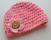 Crochet Baby Hat, Baby Girl Hat with Flower, Chunky Baby Crochet Hat, Wooden Button, Pink, READY TO SHIP, 0-3 months