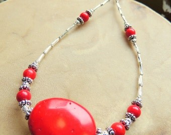 Red Coral Statement Necklace, Gemstone Necklace, Native Style, Red and Silver, Handcrafted Jewelry, Southwestern Style,