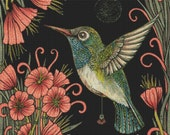 Modern Cross Stitch Kit By Anita Inverarity ' Jewel ' Embroidery - DMC Materials - Hummingbird Counted Cross-Stitch