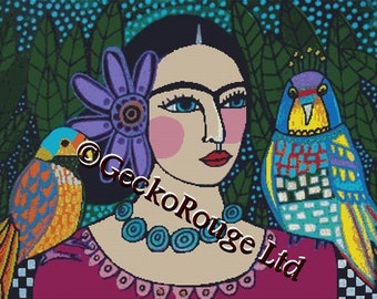 Large - Modern cross stitch kit by Heather Galler 'Frida Kahlo and Parrots 2' - Counted CrossStitch