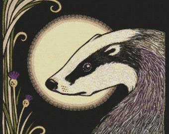 Modern Cross Stitch Kit By Anita Inverarity ' Moon Badger ' Embroidery - DMC Materials - Counted Cross-Stitch
