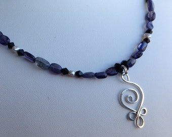 Necklace - Sterling Silver Filagree Charm, Blue Kyanite, Onyx, Grey Freshwater Pearls