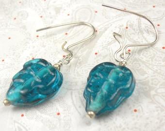 Czech glass leaf earrings in teal - leaf earrings - glass earrings - holiday earrings - teal earrings -