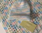 Knit Baby Hat and Crochet Heart Design Blanket Set for Baby Boy or Baby Girl