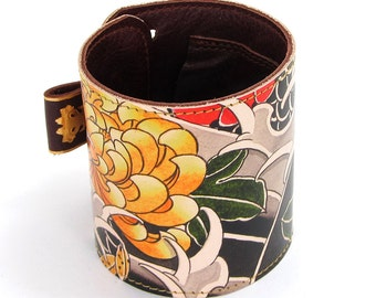 Leather cuff / wallet wristband - Tattoo chrysanthemum and wave