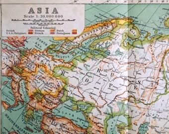 1911 Antique Map of Asia