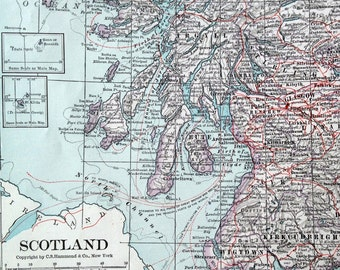 1919 Large Vintage Map of Scotland - Antique Scotland Map