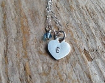 Little Lady Necklace- Girl's hand stamped and custom initial necklace with birthstone.