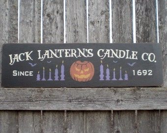 Primitive Wood Halloween Sign- Jack Lantern's Candle Co With Pumpkin