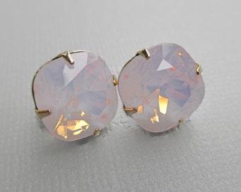 Rose Pink Opal Earrings - Swarovski Stud Earrings - Pink Opal Crystal Earrings - JOLIE Rose Opal