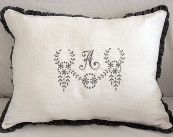 LULU.... lumbar pillow.. Personalized with Monogram